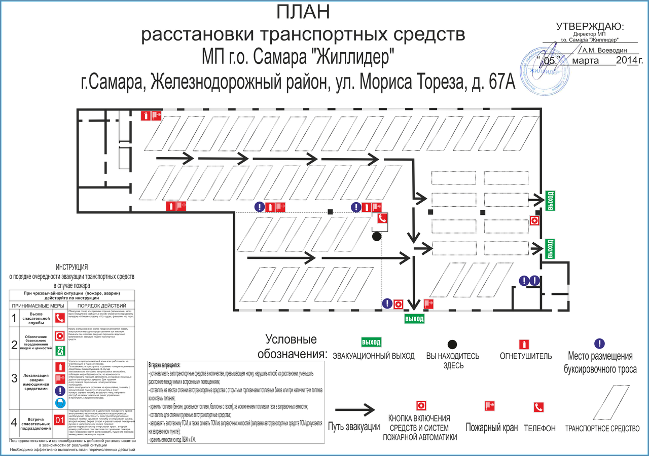 Размещение схемы эвакуации